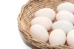 Raw dirty duck eggs in basket. On white background Stock Photos