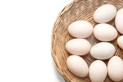 Raw dirty duck eggs in basket. On white background Royalty Free Stock Images