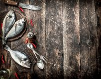 Raw Dorado fish with hot chili peppers. On a wooden background Stock Image