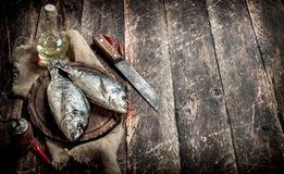 Raw Dorado fish with hot chili peppers. On a wooden background Royalty Free Stock Photography