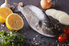 Raw dorado fish with ingredients close-up. horizontal Royalty Free Stock Photography