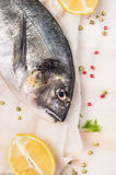 Raw dorado fish with lemon and spices on paper and white wooden background, close up Royalty Free Stock Image