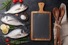 Raw dorado fish. With spices cooking on cutting board. Top view with space for your text Stock Images