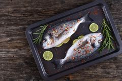 Raw dorado or sea bream fish. Fresh raw dorado or sea bream fish with lemon slices, rosemary,  sprinkled with spices on baking sheet, on old dark wooden worktop Stock Photo