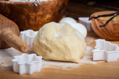 Raw dough with baking ingredients Stock Images