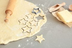 Raw dough for cookies. On table Stock Photos