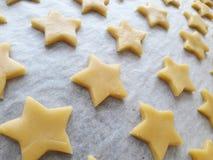 Raw dough homemade cutter cookies. Star pattern Stock Photos