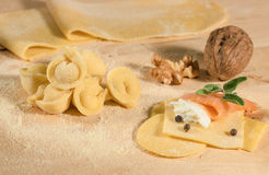 Raw dough and Italian homemade tortellini,open and closed,filled with ricotta cheese,smoked salmon,aromatic herbs and walnuts. Stock Photo