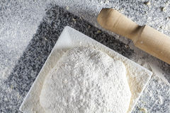 Raw dough Pizza. Ready to cook Stock Photo