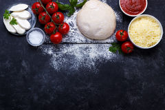 Raw dough for pizza Stock Photography