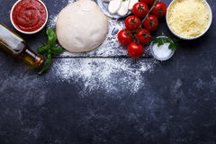 Raw dough for pizza Royalty Free Stock Photos