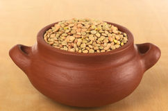 Raw Dried Lentils in Rustic Bowl Stock Image