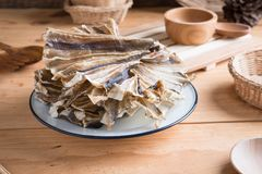 Raw dried sundried stingray radiating circular fish Royalty Free Stock Images