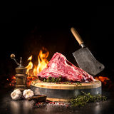 Raw dry aged t-bone steaks for grill Royalty Free Stock Photos