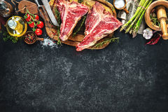 Raw dry aged t-bone steaks for grill Stock Photography