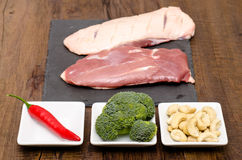 Raw duck breast with ingredients Stock Photos