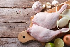 Raw duck legs with ingredients close up, top view horizontal Stock Photography