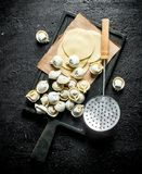 Raw dumpling on cutting Board with paper. On black rustic background royalty free stock photography