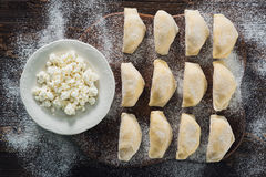 Raw dumplings with cottage cheese Stock Image