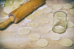 Raw Dumplings with cottage cheese and potato filling Stock Photo