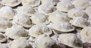 Dumplings in flour on the table. Raw dumplings with handmade meat close-up Royalty Free Stock Photos