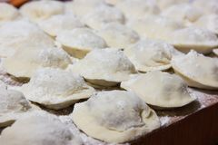 Dumplings in flour on the table. Raw dumplings with handmade meat close-up Stock Image