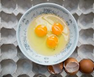 Raw egg in a bowl on panel egg Royalty Free Stock Image