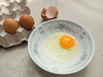 Raw egg in a bowl and panel egg Royalty Free Stock Image