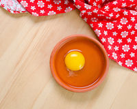 Raw egg in a dish Royalty Free Stock Images
