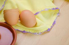 Raw egg in a dish Royalty Free Stock Photos