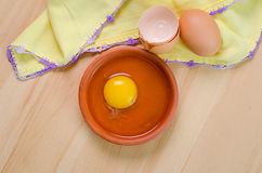 Raw egg in a dish Royalty Free Stock Image