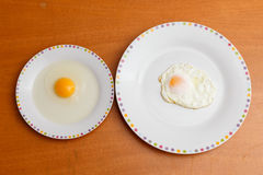 Raw egg and fried egg Royalty Free Stock Images