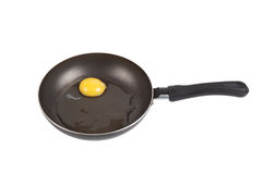 Raw egg in a frying pan isolated on white background Royalty Free Stock Image