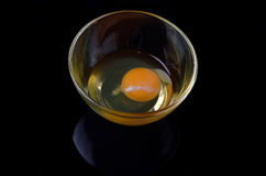 A raw egg in a glass plate closeup on a black background. Stock Images