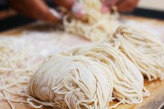 Raw egg noodles Royalty Free Stock Photo