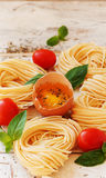 Raw egg and noodles with spices Royalty Free Stock Image
