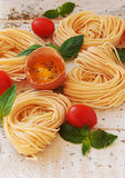 Raw egg and noodles with spices Royalty Free Stock Photo