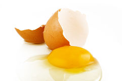 Raw egg tear Royalty Free Stock Photo