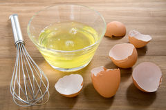 Raw egg whites. Just cracked into a glass bowl waiting to be whisked Royalty Free Stock Image