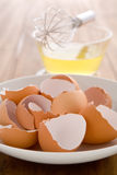 Raw egg whites. Just cracked into a glass bowl waiting to be whisked Royalty Free Stock Photography