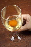 Raw egg in a wine glass Stock Images