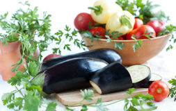 Raw Eggplant And Other Fresh Vegetables Royalty Free Stock Images