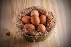 Raw eggs in the bowl Stock Photo