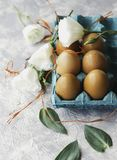 Raw eggs in a carton for eggs with white flowers on a marble white table, ready for painting Easter, selective focus Stock Photo