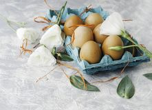 Raw eggs in a carton for eggs with white flowers on a marble white table, ready for painting Easter, selective focus Stock Photos