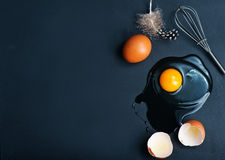 Raw eggs. Raw chicken eggs on the kitchen table stock photo
