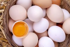 Raw eggs in dry straw. Food concept photo.  royalty free stock photos