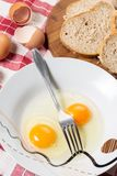 Raw eggs in the plate with fork. Preparing eggs for a breakfast stock image