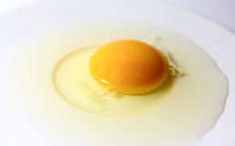 Raw eggs on white plate.  Royalty Free Stock Image