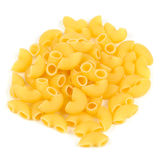 Raw Elbow Macaroni (Gomiti Pasta) Isolated on White Background Stock Photos